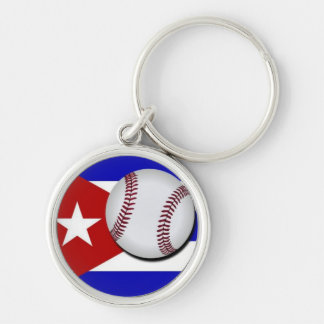 Key ring of Cuban Baseball Ball Silver-Colored Round Keychain