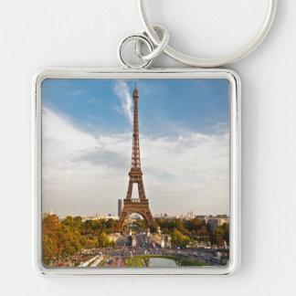 Key-ring Paris-Turn Eiffel #6 Silver-Colored Square Keychain