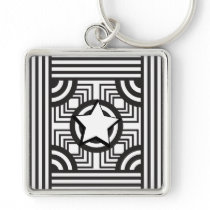 Key-ring silver plated metal keychain