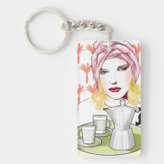 key-ring, the blonde with the coffee keychain