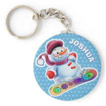 Key Ring with snowboarding snowman