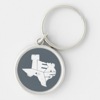 Key Ring with Texas State Map in Blue Lettering Keychain