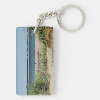 Key supporter beach with dunes Double-Sided rectangular acrylic keychain