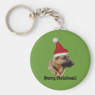 "Key supporter Christmas ""shepherd dog "" Basic Round Button Keychain"