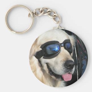 Key supporter cool Dog Biker Dog Basic Round Button Keychain