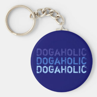 Key supporter DOGaHOLIC blue Basic Round Button Keychain
