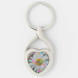 Key supporter heart form - flower picture keychain