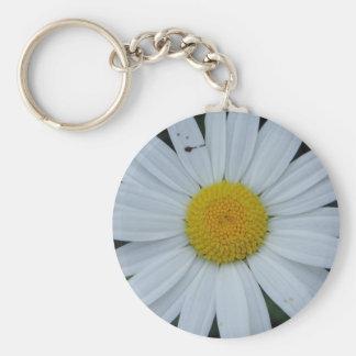 Key supporter white daisy bloom keychain