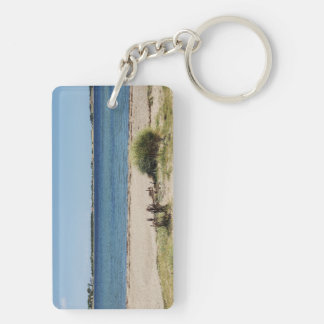 Key supporters beach and sea Double-Sided rectangular acrylic keychain