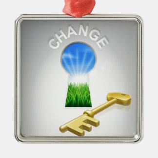Key to Change Metal Ornament