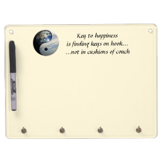 Key to Happiness... Dragon Yin Yang (Customizable) Dry Erase Board With Keychain Holder
