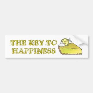 Key to Happiness Key Lime Pie Slice Bumper Sticker