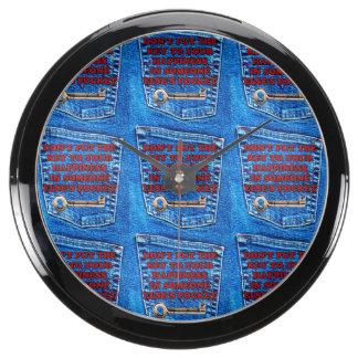 Key to Happiness Pocket Quote Blue Jeans Denim Aqua Clocks