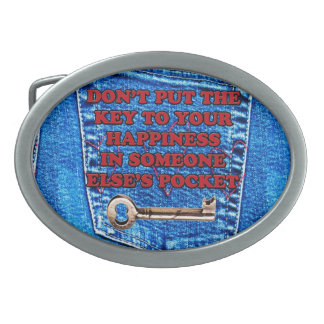 Key to Happiness Pocket Quote Blue Jeans Denim Belt Buckle