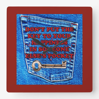 Key to Happiness Pocket Quote Blue Jeans Denim Wallclock