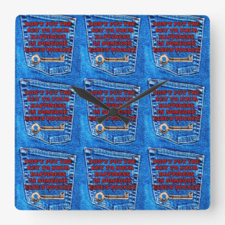 Key to Happiness Pocket Quote Blue Jeans Denim Wall Clock