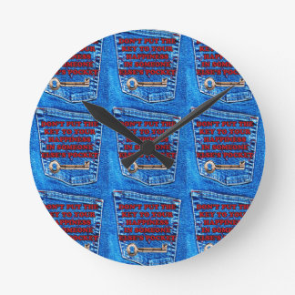 Key to Happiness Pocket Quote Blue Jeans Denim Round Wallclock