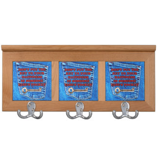 Key to Happiness Pocket Quote Blue Jeans Denim Coat Rack