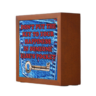 Key to Happiness Pocket Quote Blue Jeans Denim Pencil/Pen Holder
