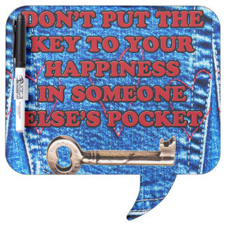 Key to Happiness Pocket Quote Blue Jeans Denim Dry Erase Whiteboard