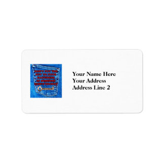 Key to Happiness Pocket Quote Blue Jeans Denim Custom Address Label