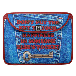 Key to Happiness Pocket Quote Blue Jeans Denim MacBook Pro Sleeves