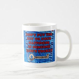 Key to Happiness Pocket Quote Blue Jeans Denim Mug