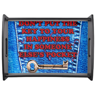 Key to Happiness Pocket Quote Blue Jeans Denim Serving Tray