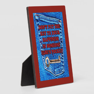 Key to Happiness Pocket Quote Blue Jeans Denim Photo Plaque