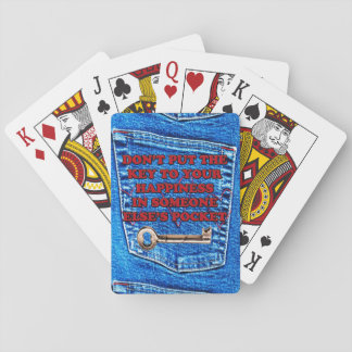 Key to Happiness Pocket Quote Blue Jeans Denim Poker Cards