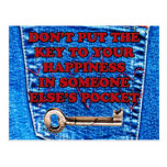 Key to Happiness Pocket Quote Blue Jeans Denim Post Card