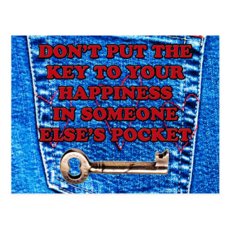 Key to Happiness Pocket Quote Blue Jeans Denim Postcard