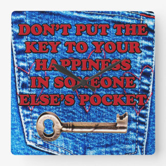Key to Happiness Pocket Quote Blue Jeans Denim Square Wall Clock