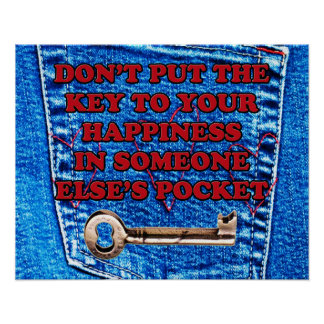 Key to Happiness Quote Blue Jeans Denim Pocket Print