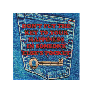 Key to Happiness Quote Blue Jeans Denim Pocket Wood Canvases