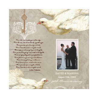 Key to Heart Dove 50th Wedding Anniversary Photo Stretched Canvas Prints