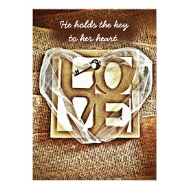 Key to her Heart Rustic Burlap Wedding Invitations Personalized Invite