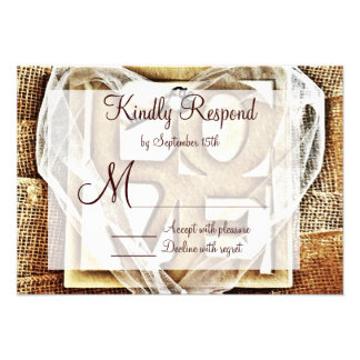 Key to her Heart Rustic Burlap Wedding RSVP Cards