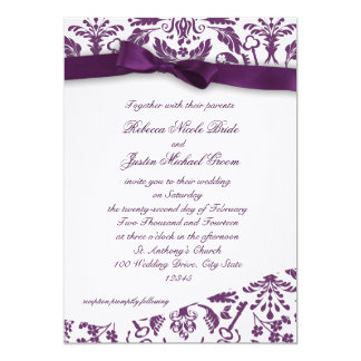 Key to my Heart Damask with Bow 5x7 Paper Invitation Card