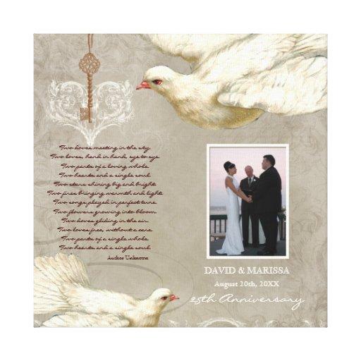 Key to my Heart Dove 25th Anniversary Photo Print Canvas Prints