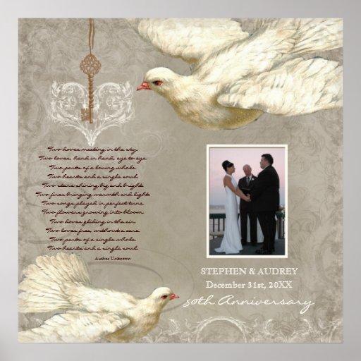 Key to my Heart Dove 50th Anniversary Photo Print