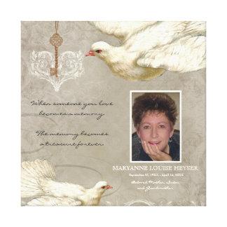 Key to my Heart Dove Bereavement Memorial Canvas Print