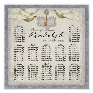 Key to my Heart Dove Reception Table Seating Chart Poster