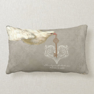 Key to my Heart Dove Swirl Flourish Grey Collage Pillow