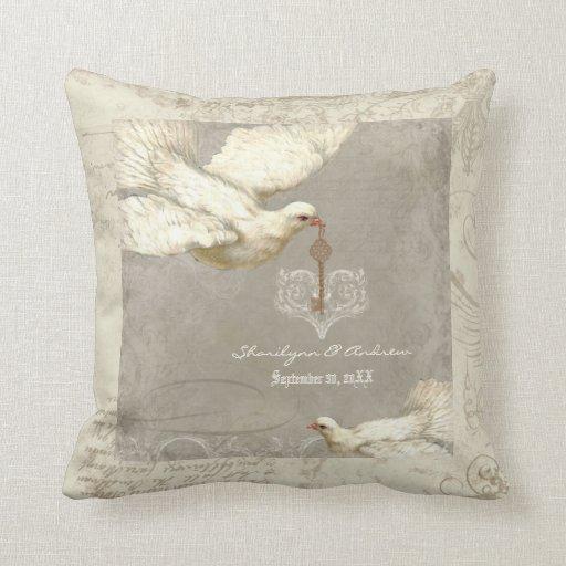 Key to my Heart Dove Swirl Flourish Grey Collage Pillow