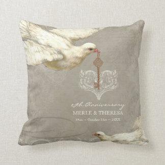 Key to my Heart Dove Swirl Flourish Grey Collage Throw Pillow