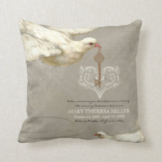 Key to my Heart Dove Swirl Flourish Grey Collage Pillows