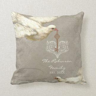 Key to my Heart Dove Swirl Flourish Grey Collage Throw Pillows