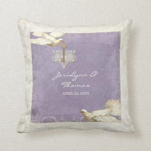 Key to my Heart Dove Swirl Flourish Love Wedding Pillows