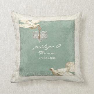 Key to my Heart Dove Swirl Flourish Love Wedding Pillow